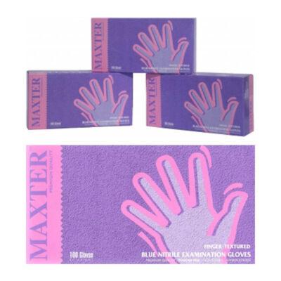 Kék kesztyű érzékeny bőrűek számára, latex- és púdermentes, kék, (100 db) (M)